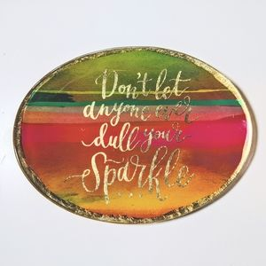 Rainbow and gold quote jewelry tray
